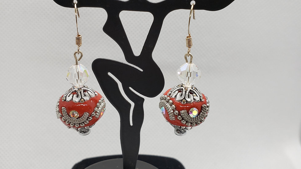 Southwest Sparkly Red Bead Rhinestone Bead Earrings