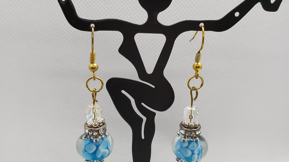 Southwest Sparkly Bead Turquoise and silver Lamp Bead Earrings