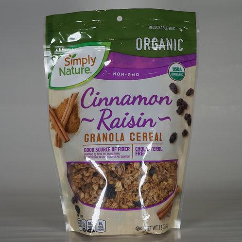 Organic Cinnamon raisin granola cereal