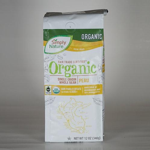 Organic whole bean Peru coffee