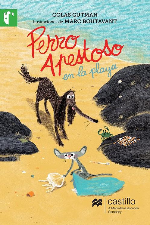 Perro apestoso en la playa