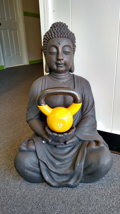 Our patron saint: Kettlebell Buddha.