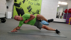 Side plank promotes core stability and gets the heart rate up.