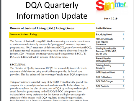 DHS - DQA Quarterly  Information Update