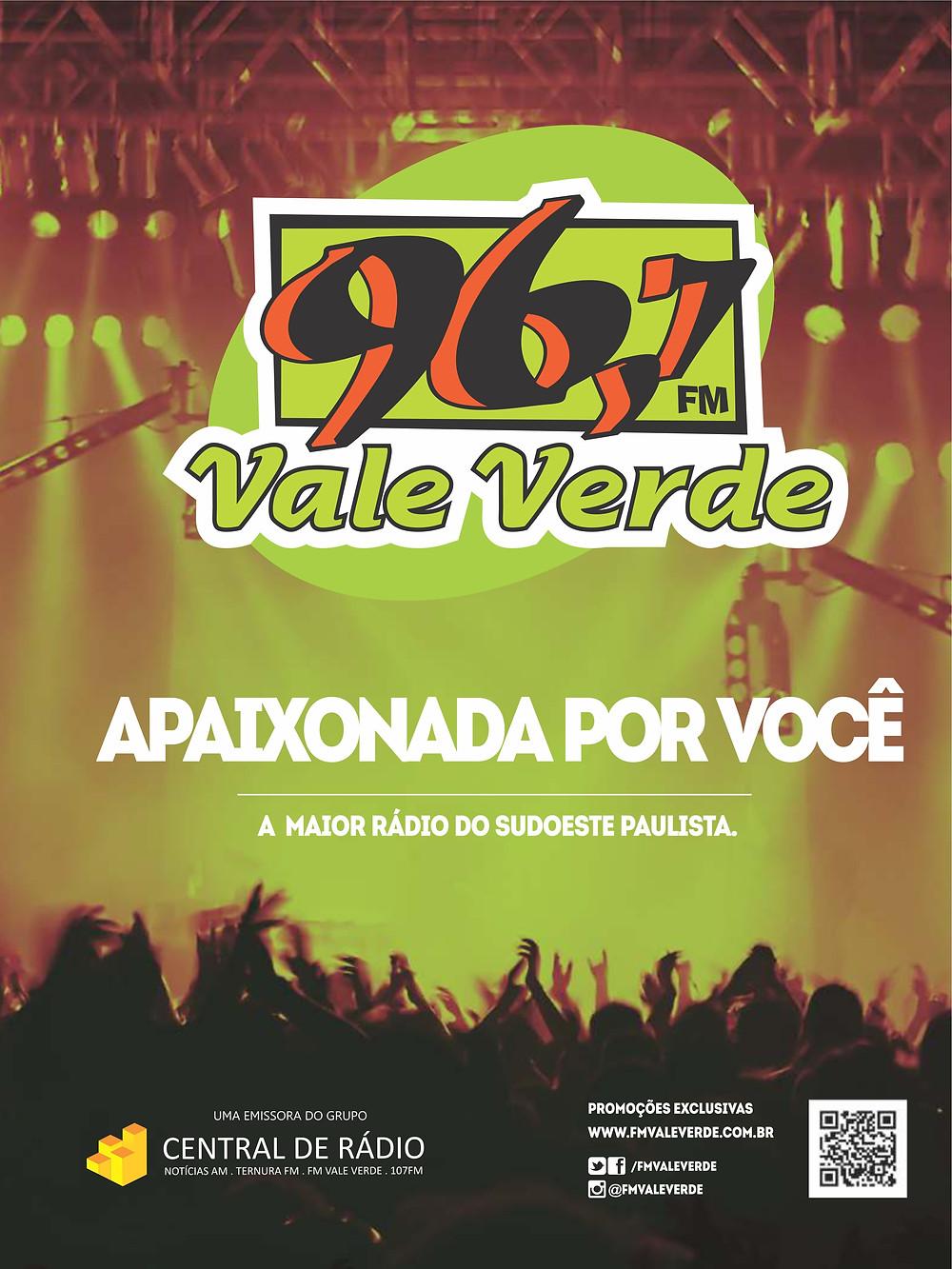 FM Vale Verde, apaixonada por você! Anúncio na Revista Top da Cidade, Edição 54, em Itapetininga