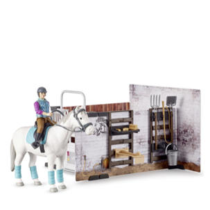 Singleton Hi-fi Hunter Valley Bruder toys stable scene with white horse and rider