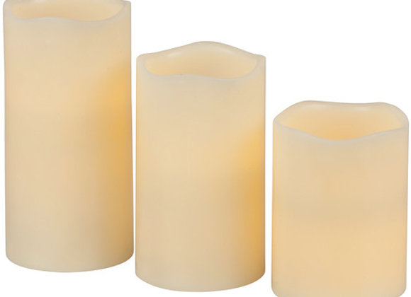 LIGHT LED CANDLE 3PC SET W/REMOTE
