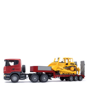 Singleton Hi-fi Hunter Valley Bruder toys red semi trailer with yellow CAT bull dozer