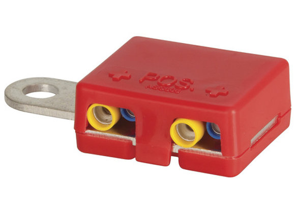 TERMINAL BATTERY MULTI CONN 4XSPADE RED