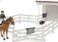 Bworld Little Rider Court w/Horse-woman, Horse, Saddle & Bri