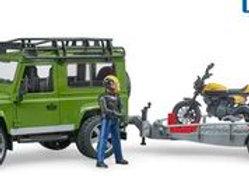 BR1:16 Land Rover Defender, trailer + Scrambler Ducati