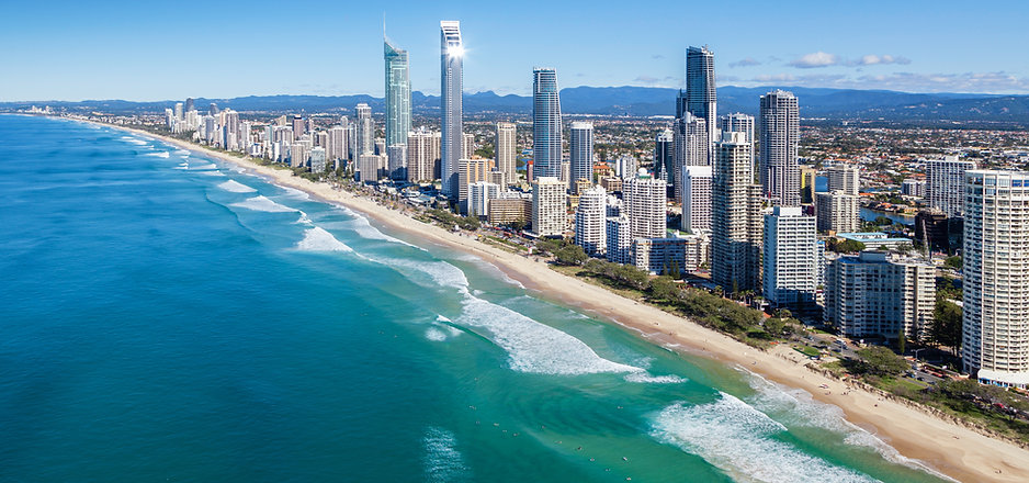 Sunny view of Gold Coast, Queensland, Au