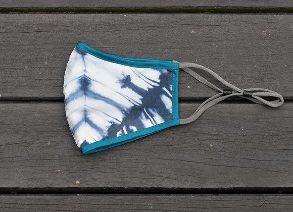 Silk Mask 'Leaf' | Indigo x Turquoise