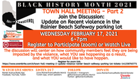 2-17-21 Town Hall Meeting 2: Violence in Rainier Beach Safeway Parking Lot