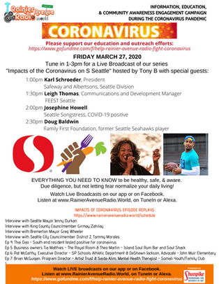 "3-27-20 Live 1-3pm ""Impacts of Coronavirus"": Doug Baldwin, Josephine Howell, Safeway &"