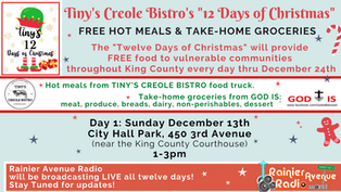 "Tiny's Creole Bistro ""Twelve Days of Christmas"" - Free Hot Meals & Take-home groceries"