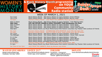 Women's History Month + Black History Month programming week of 3-1-21