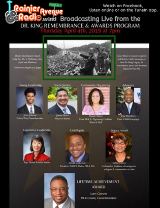 4-4-19 LIVE broadcast of MLK Remembrance & Awards from Mt Zion Church, 7-9pm