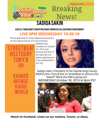 10-30-19, 8pm: Seattle-K.C. NAACP President Sadiqa Sakin on StreetBeat with Tony B