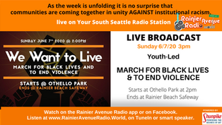 Live broadcast Today: We Want to Live March, South Seattle