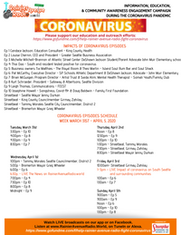 "3-31-20 Schedule for series ""Impacts of Coronavirus on S Seattle & Surrounding Communities&"