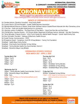 "3-31-20 Schedule for series ""Impacts of Coronavirus on S Seattle & Surrounding Communities&"