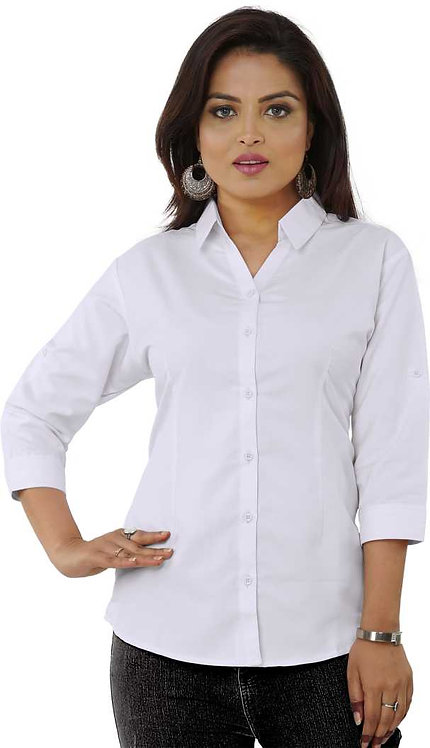 Women's Pure Cotton Slim fit Plain Casual 3/4th Sleeve Shirt
