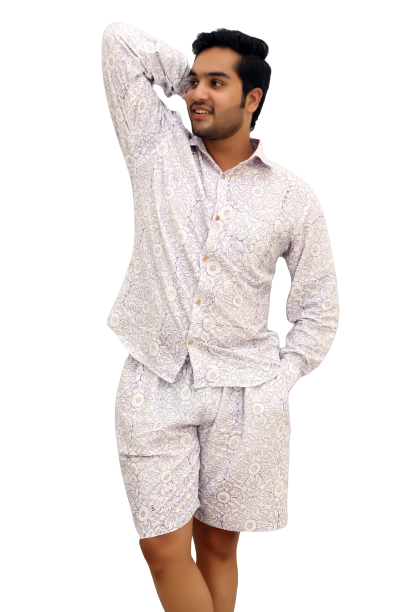Men's Pure Cotton Night Suit- Full Sleeve Shirt and Shorts