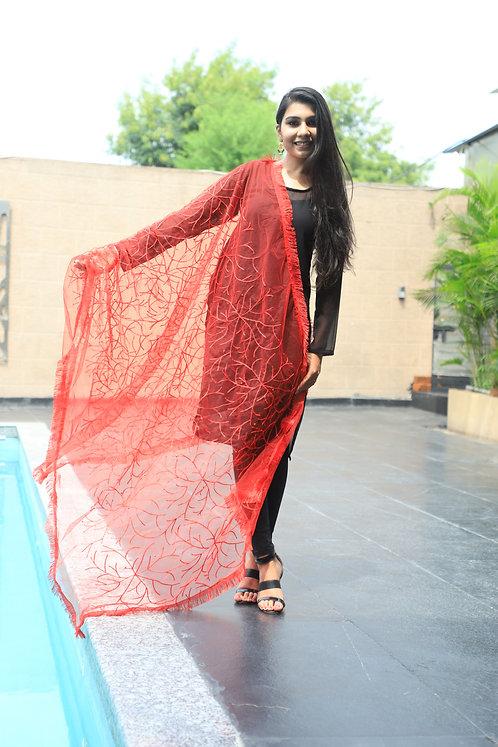 Women's Designer Embroidery Net Dupatta with Border