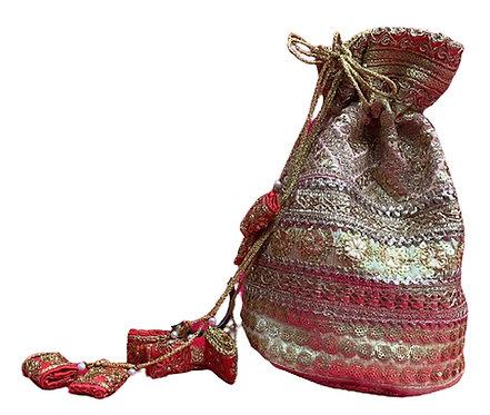 Utpal Potli Ethnic Clutch Silk Cream & Silver Color