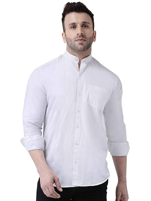 Men's Pure Cotton Full Sleeve Chinese Collar Regular fit Shirt