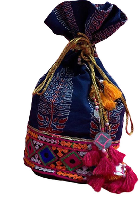 Utpal Potli Ethnic Clutch Silk Blue Color