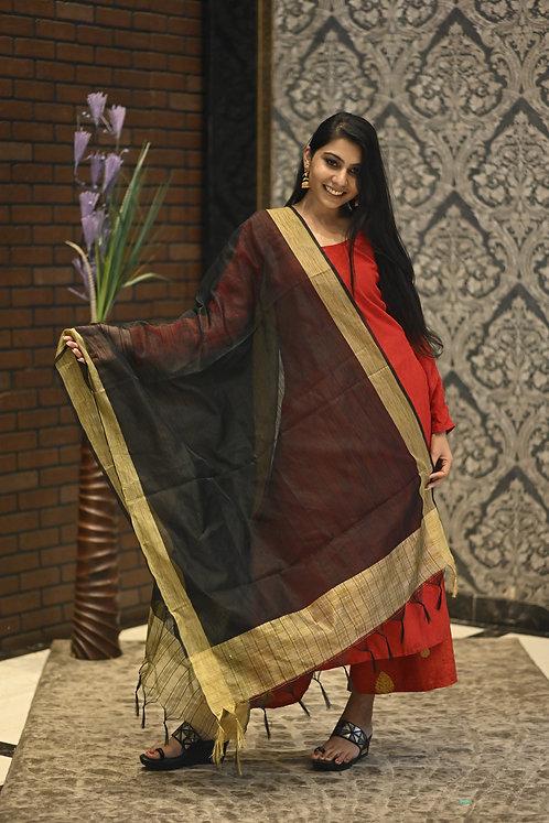 Women's Jacquard Lining Net Dupatta with Golden Border