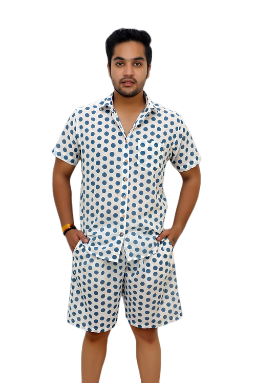 Men's Pure Cotton Night Suit- Half Sleeve Shirt and Shorts