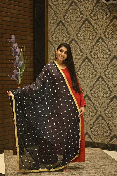 Women's Diamond Golden Embroidered Chiffon Dupatta with Lace