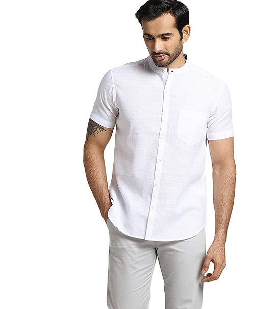 Men's Pure Cotton Half Sleeve Chinese Collar Regular fit Shirt