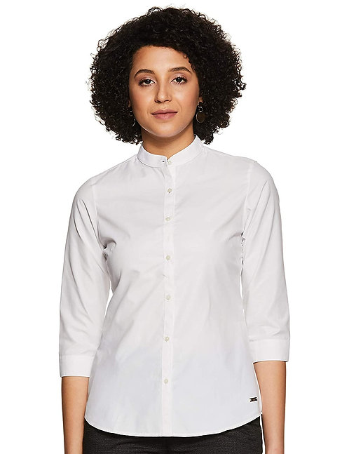 Women's Pure Cotton 3/4th Sleeve Slim fit Chinese Collar Shirt