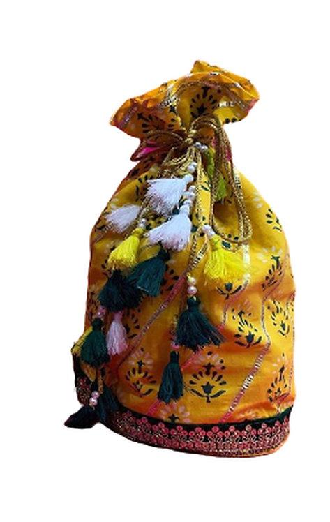 Utpal Potli Ethnic Clutch Silk Yellow Color