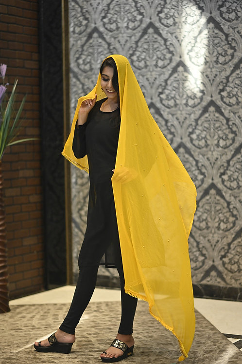 Women's Beads Embroidered Chiffon Dupatta with Lace