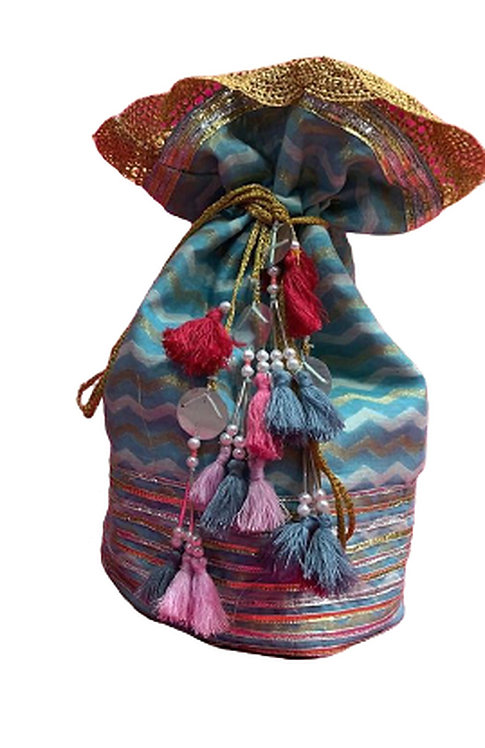 Utpal Potli Ethnic Clutch Silk Sky Blue Color