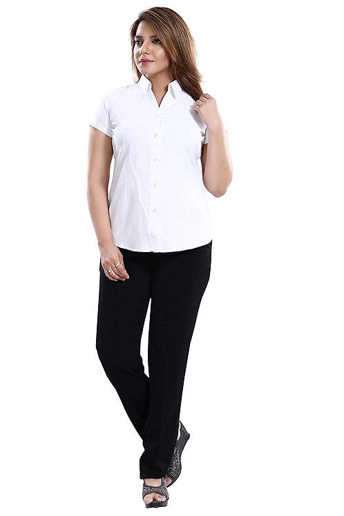 Women's Pure Cotton Slim fit Plain Casual Half Sleeve Shirt