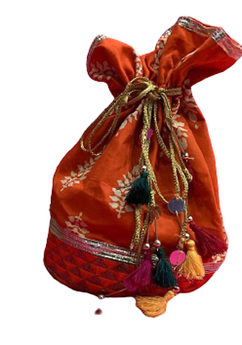Utpal Potli Ethnic Clutch Silk Orange Color