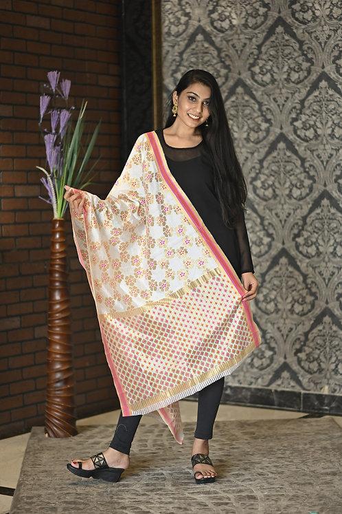 Women's Pink Golden Jacquard Royal Silk Dupatta with Golden Border