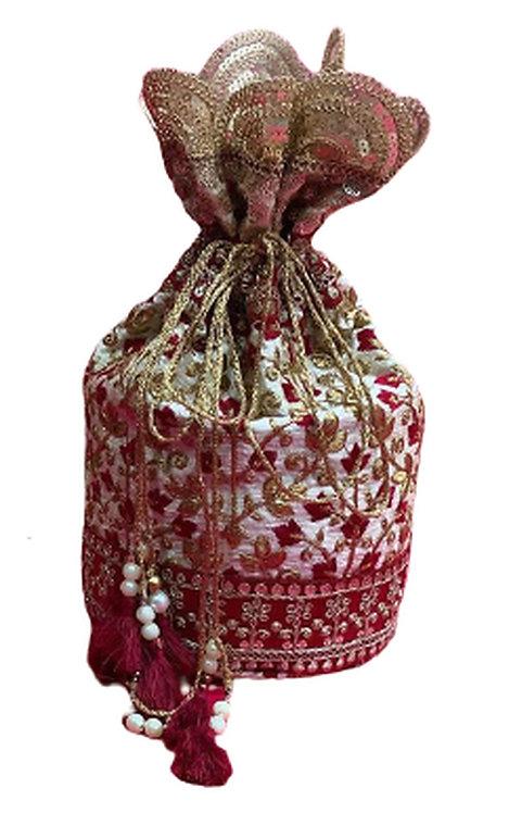 Utpal Potli Ethnic Clutch Silk Cream & Red Color