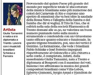 Classica carioca a Trento Sul palco il trio di Tamanini