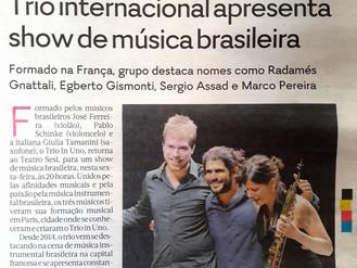 Trio internacional apresenta show de música brasileira