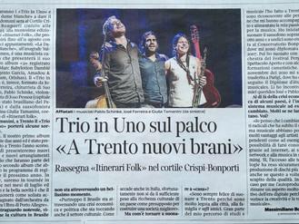 """Trio In Uno sul palco """"A Trento nuovi brani"""""""