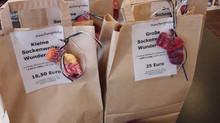 Sockenwolle-Wundertüten in der maschenprobe