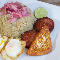 Mashed Green Plantains, Dominican Sausage, Fried Cheese, Fried Eggs