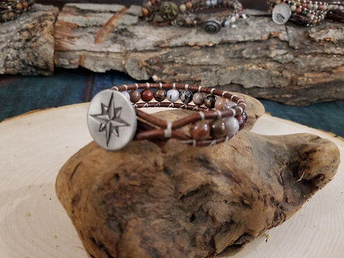Petrified Wood With Rose Compass Button
